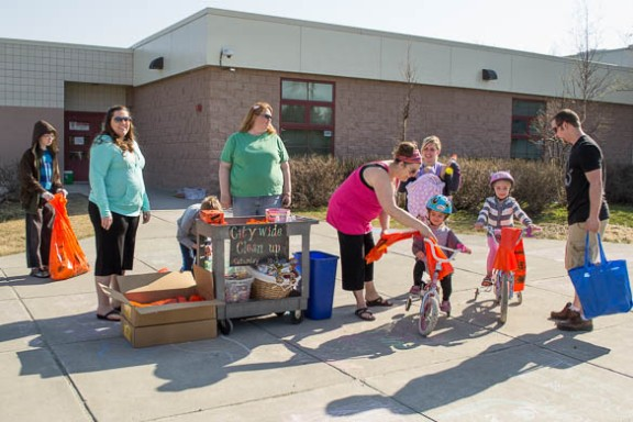 Baxter Elementary School cleans up Muldoon in May 2014.